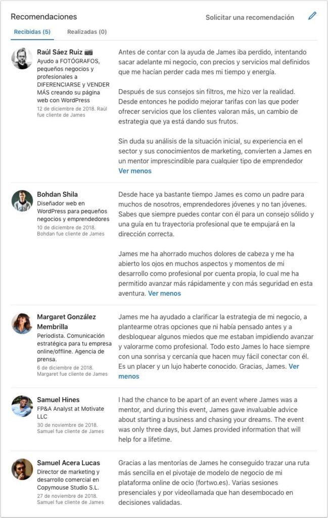 Captura de los testimonios de Linkedin de personas como: Raúl Sáez, Bohdan Shila, Margaret González, Samuel Hines y Samuel Acera.